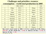 challenges and priorities resource consumption world steel production in 2005