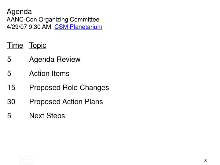 Agenda aanc con organizing committee 4 29 07 9 30 am csm planetarium