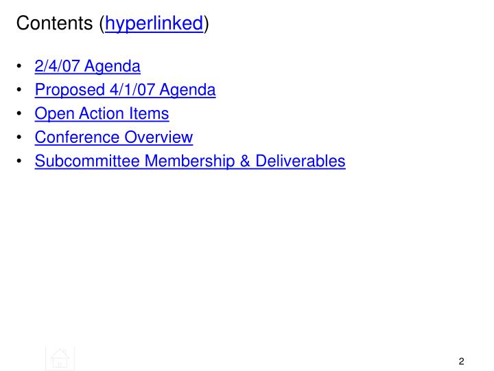 Contents hyperlinked