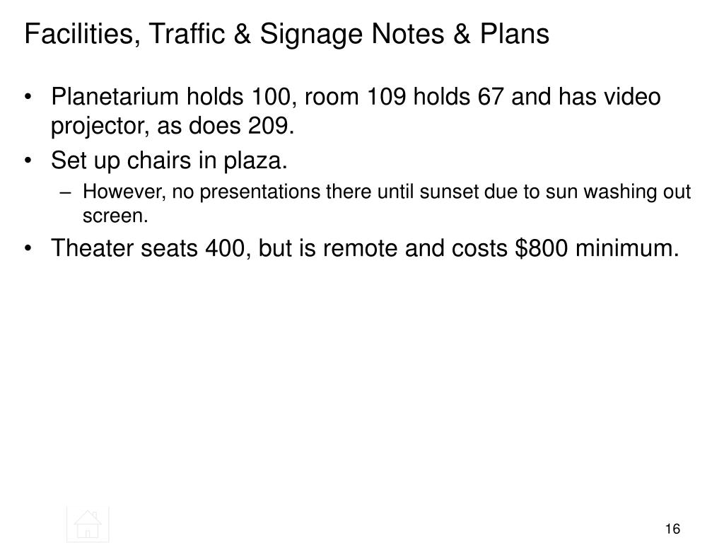 Facilities, Traffic & Signage Notes & Plans