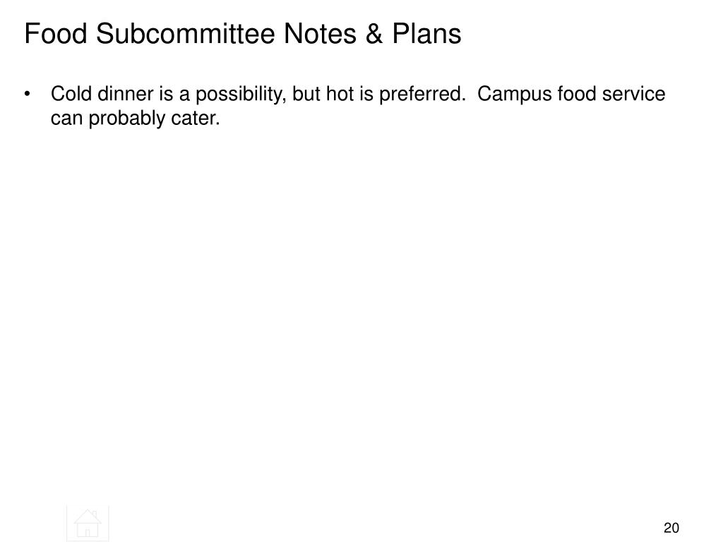 Food Subcommittee Notes & Plans