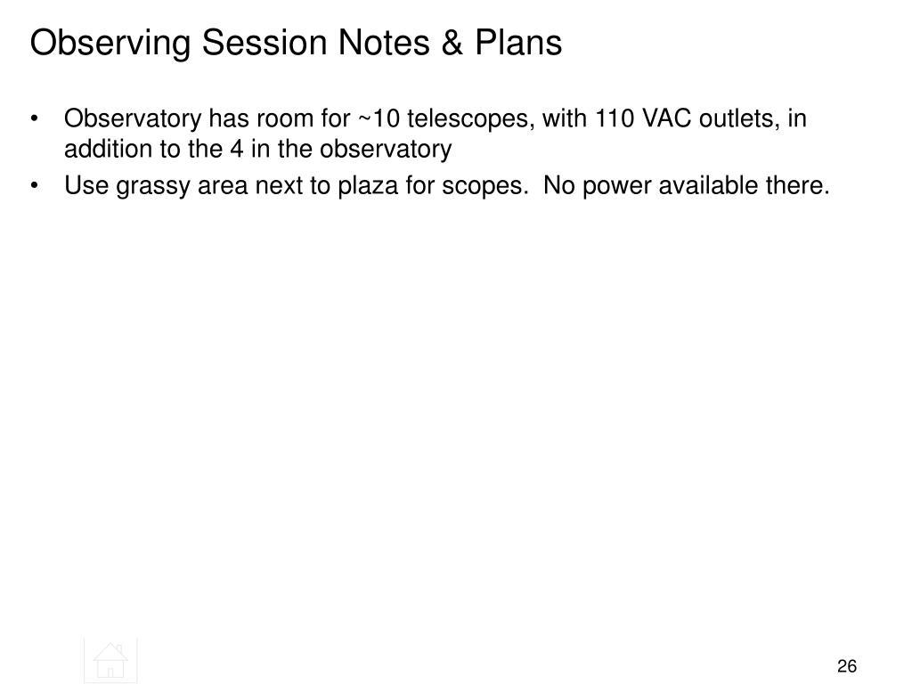Observing Session Notes & Plans
