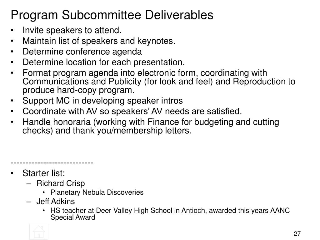 Program Subcommittee Deliverables