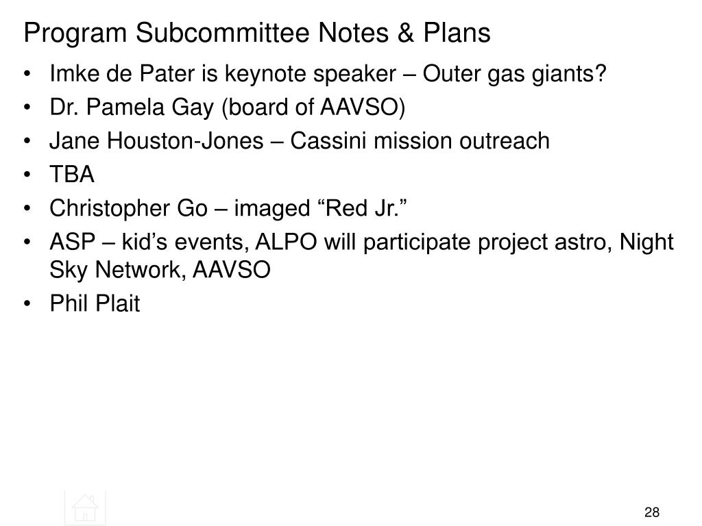 Program Subcommittee Notes & Plans