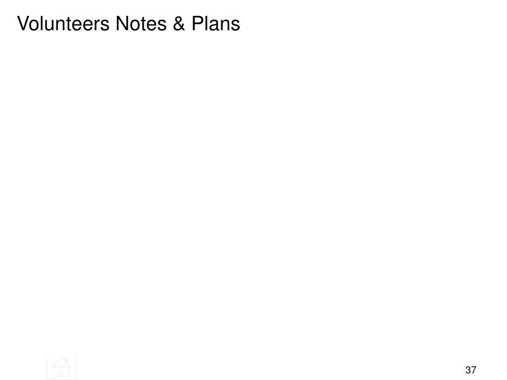 Volunteers Notes & Plans