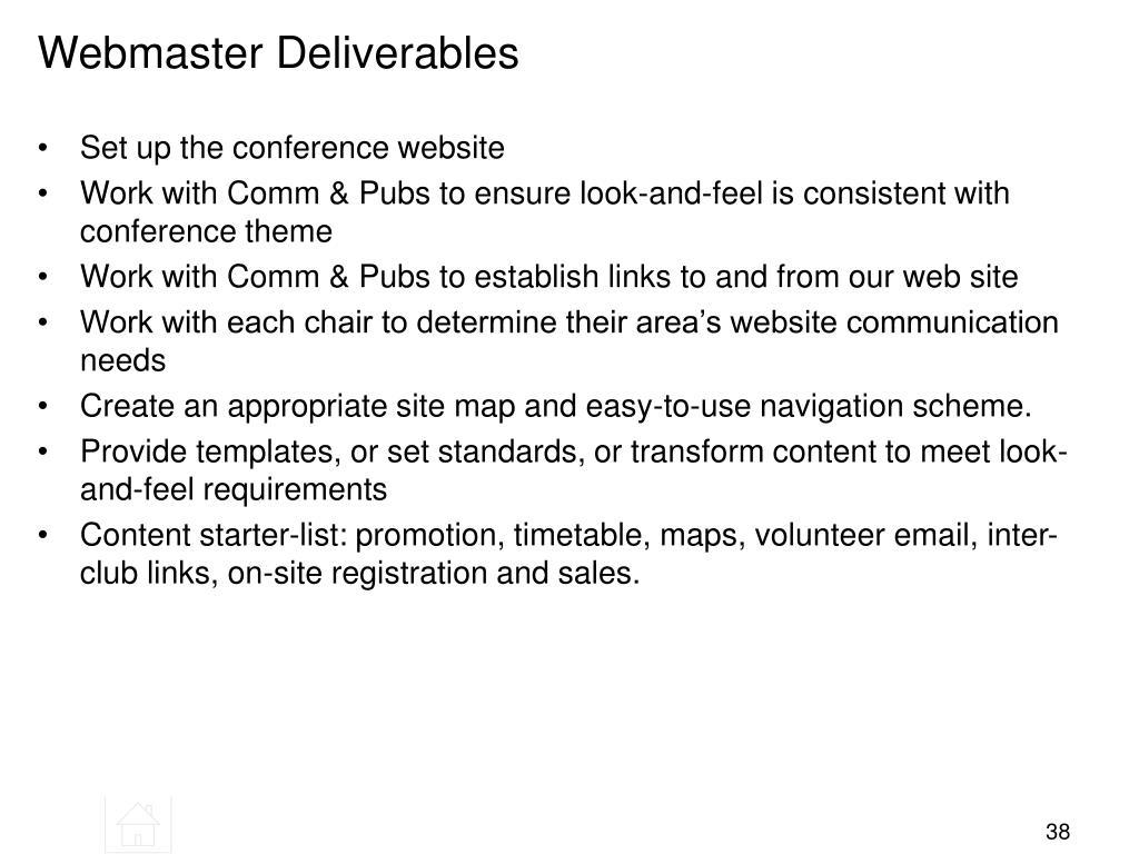 Webmaster Deliverables