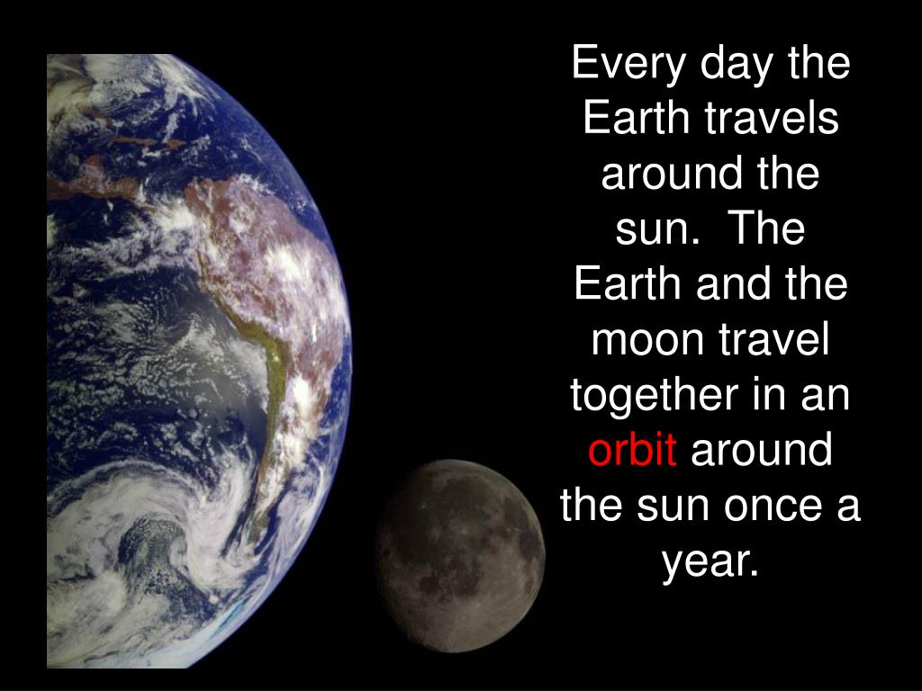 Every day the Earth travels around the sun.  The Earth and the moon travel together in an