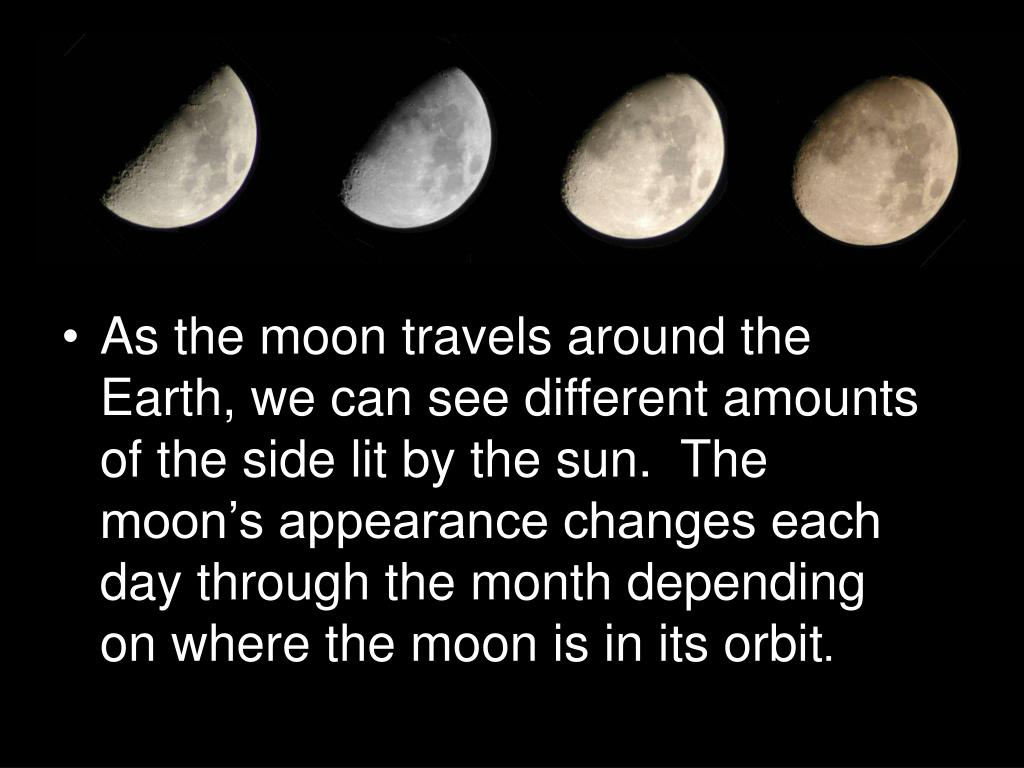 As the moon travels around the Earth, we can see different amounts of the side lit by the sun.  The moon's appearance changes each day through the month depending on where the moon is in its orbit