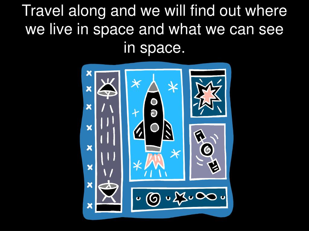 Travel along and we will find out where we live in space and what we can see in space.