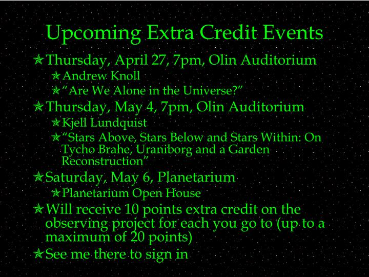 Upcoming extra credit events