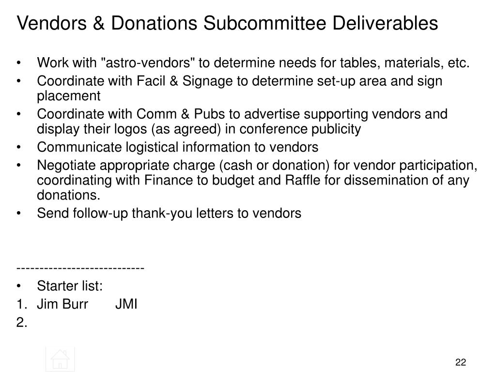 Vendors & Donations Subcommittee Deliverables