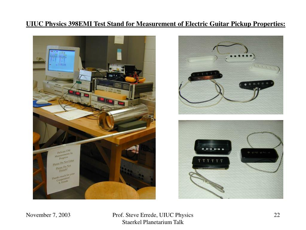 UIUC Physics 398EMI Test Stand for Measurement of Electric Guitar Pickup Properties: