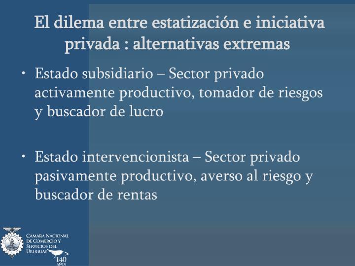 El dilema entre estatización e iniciativa privada : alternativas extremas