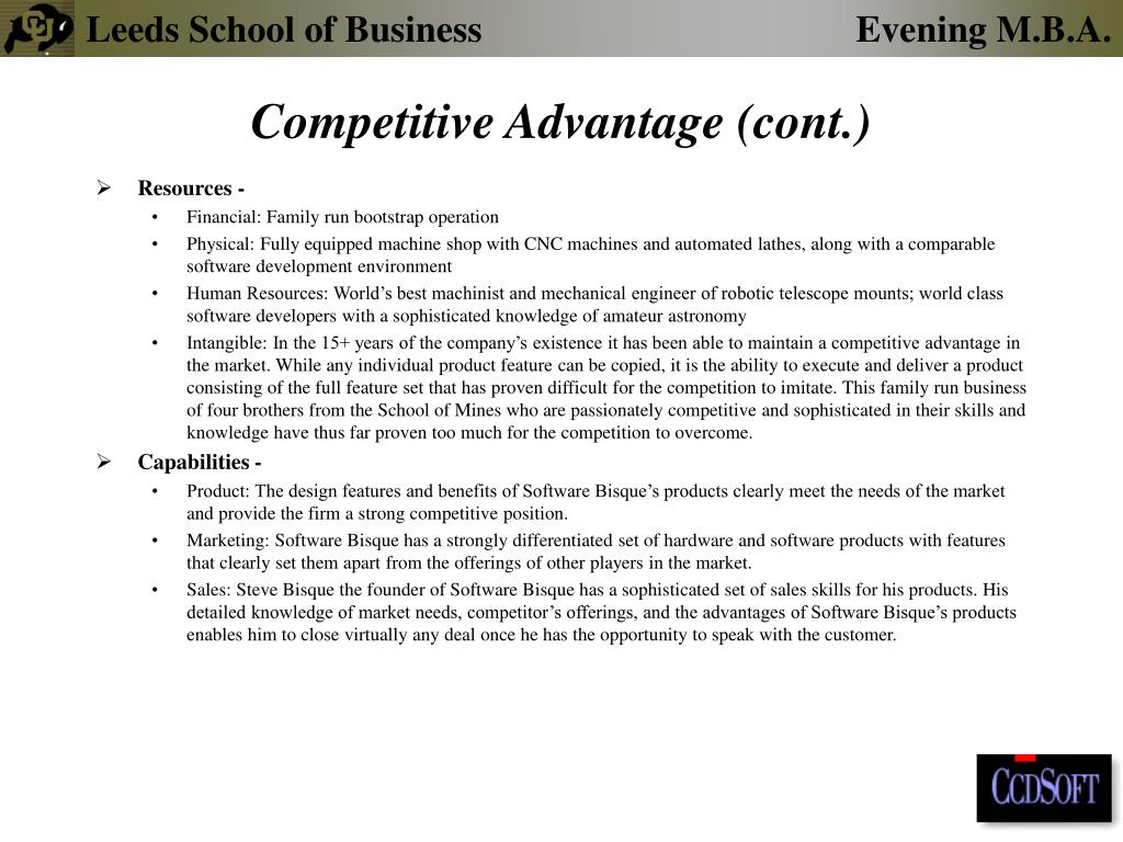 Competitive Advantage (cont.)