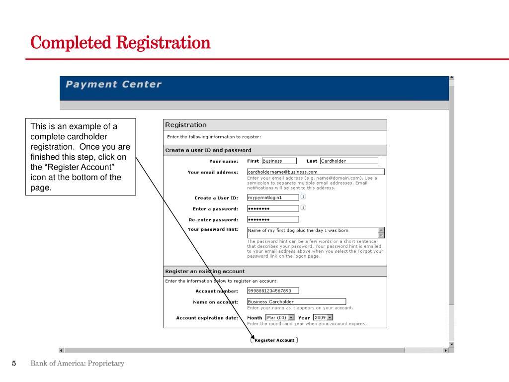 Completed Registration
