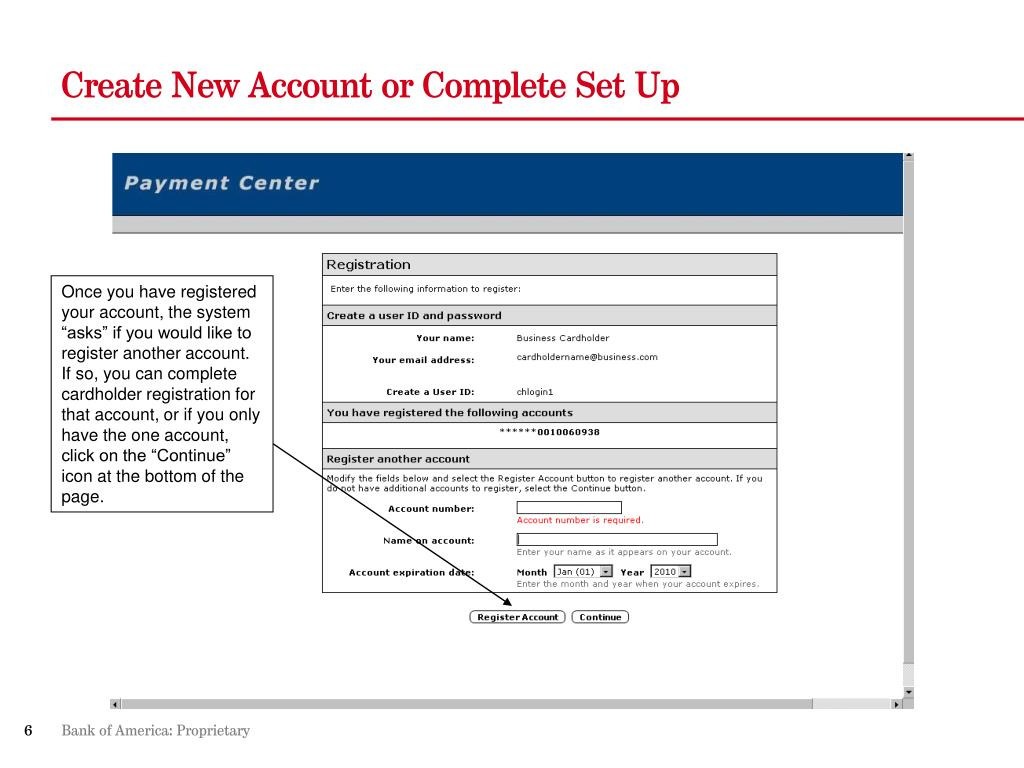 Create New Account or Complete Set Up