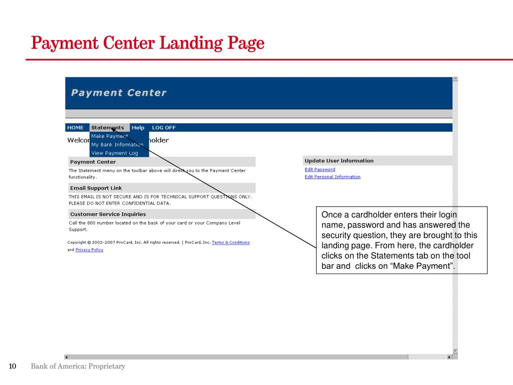 Payment Center Landing Page