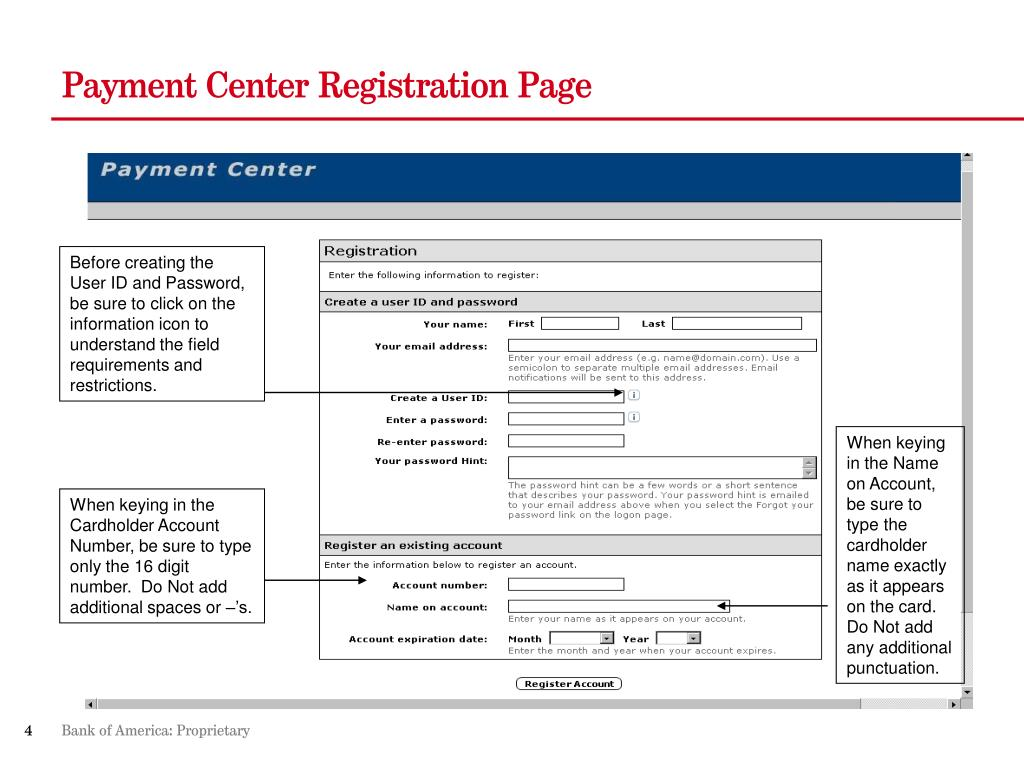 Payment Center Registration Page