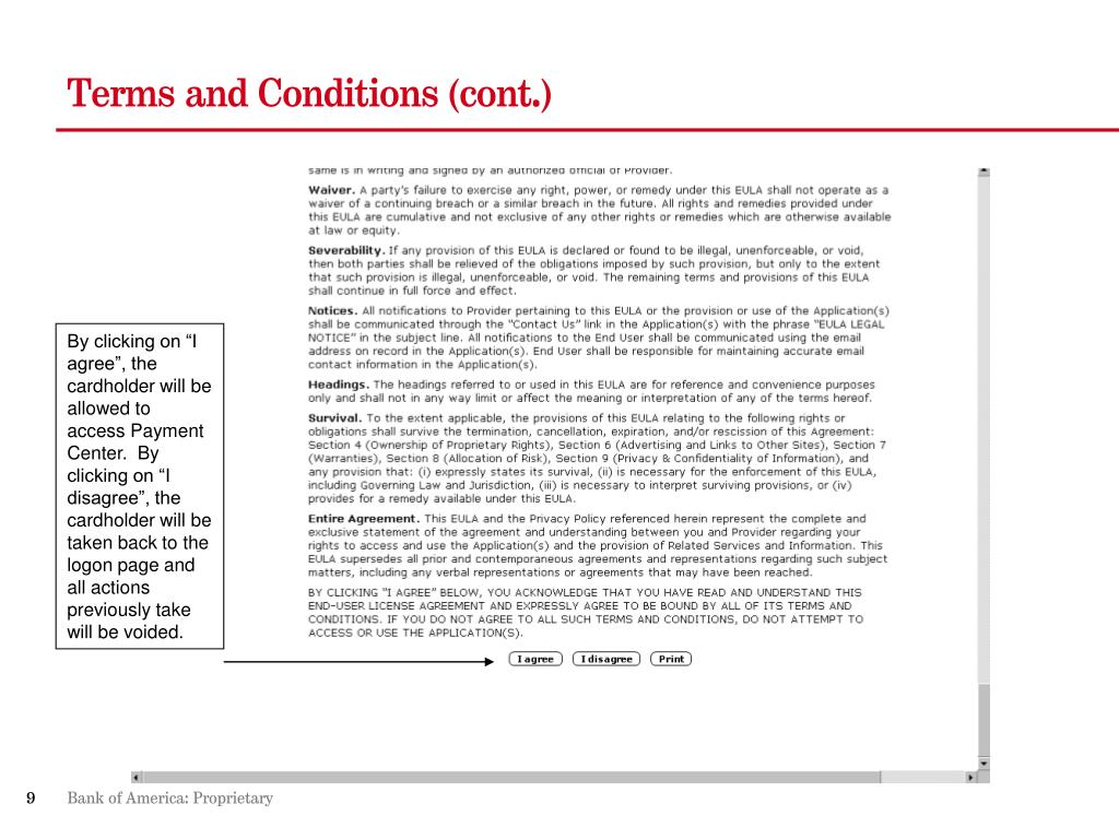 Terms and Conditions (cont.)