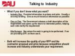 talking to industry