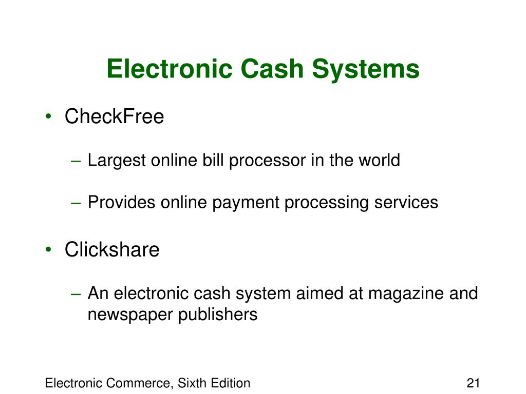 Electronic Cash Systems