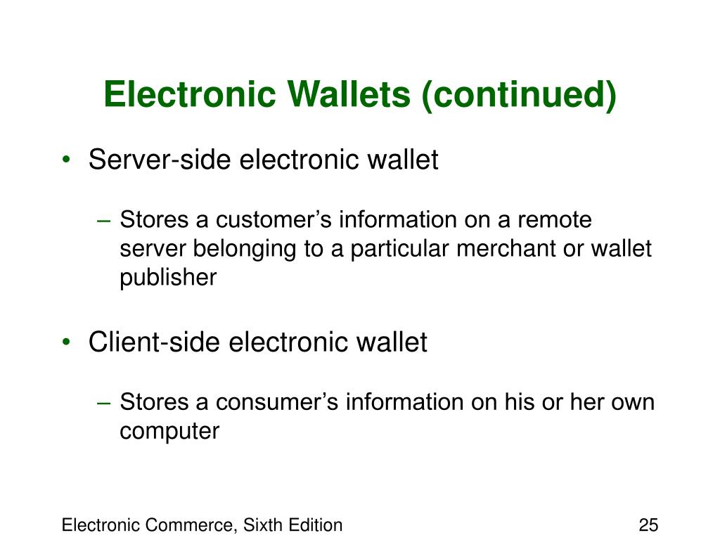 Electronic Wallets (continued)