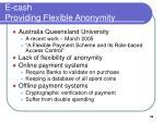 e cash providing flexible anonymity