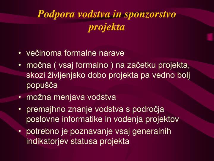 Podpora vodstva in sponzorstvo projekta