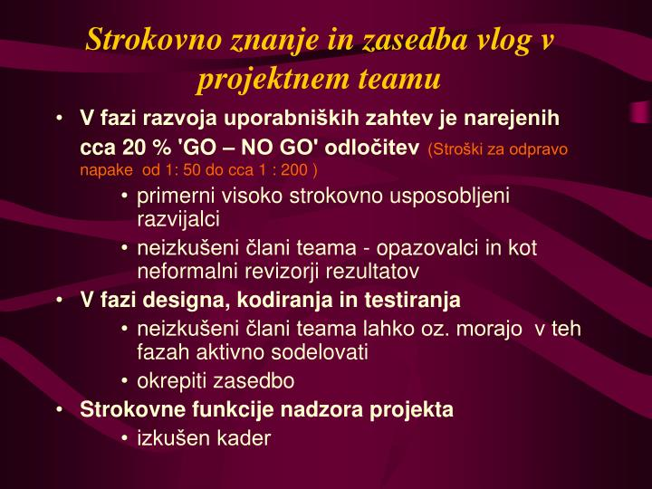 Strokovno znanje in zasedba vlog v projektnem teamu