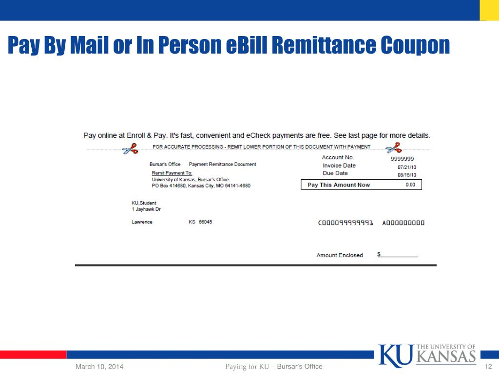 Pay By Mail or In Person eBill Remittance Coupon