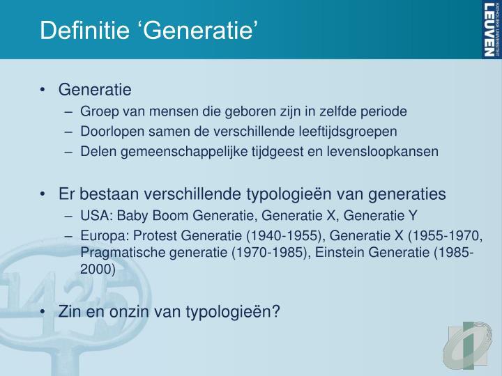 Definitie 'Generatie'