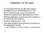 adaptation can be rapid