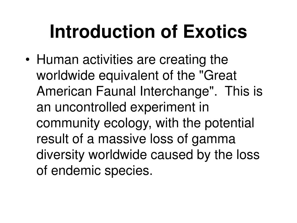 Introduction of Exotics