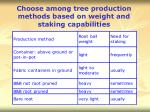 choose among tree production methods based on weight and staking capabilities