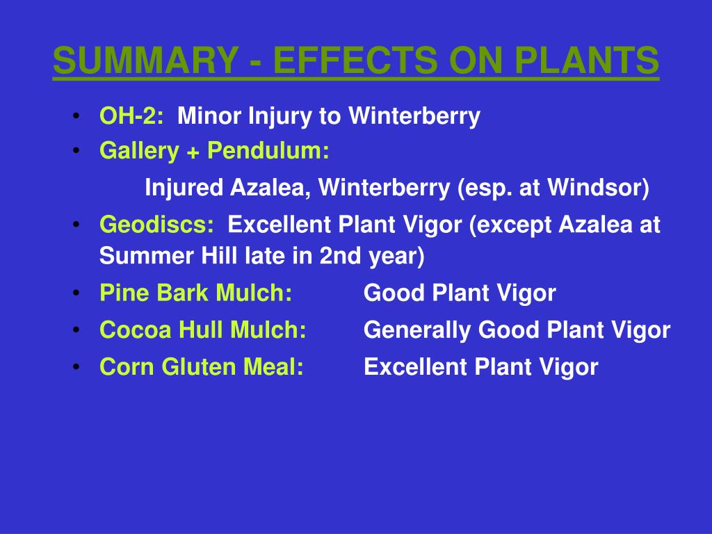 SUMMARY - EFFECTS ON PLANTS