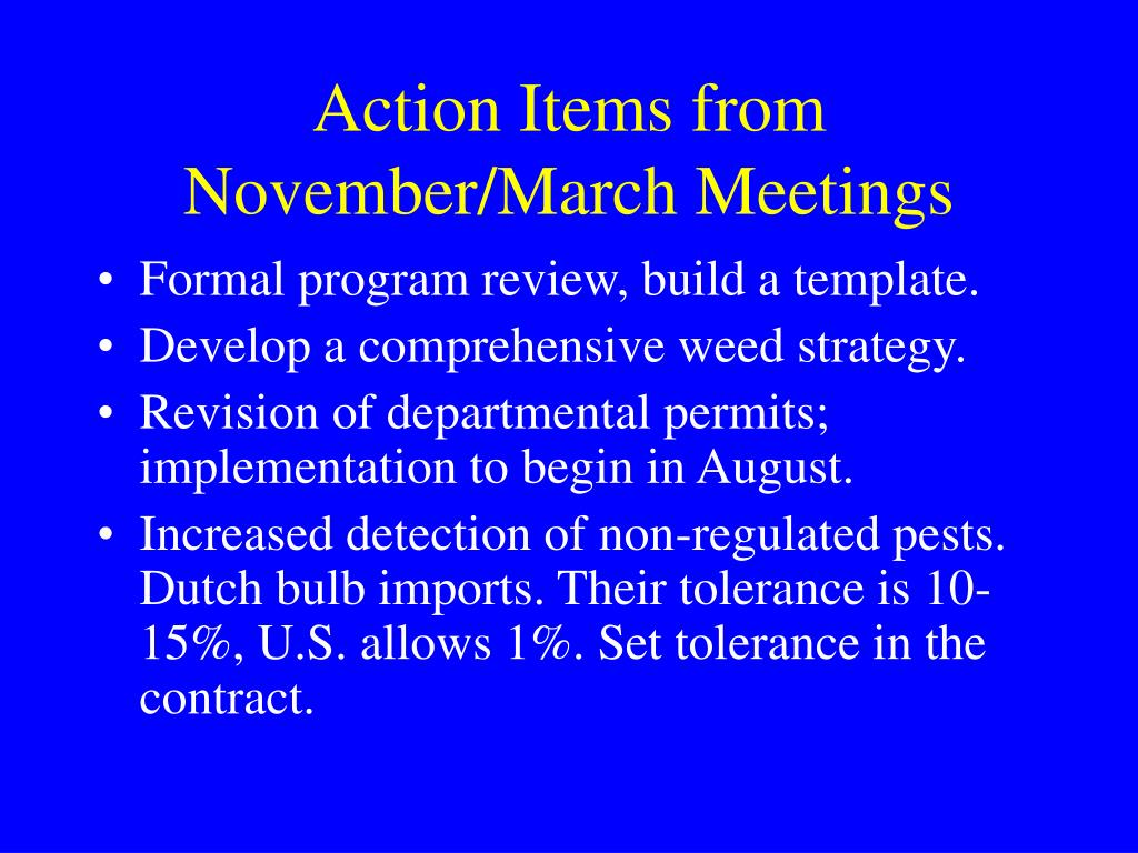 Action Items from November/March Meetings