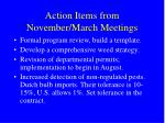 action items from november march meetings