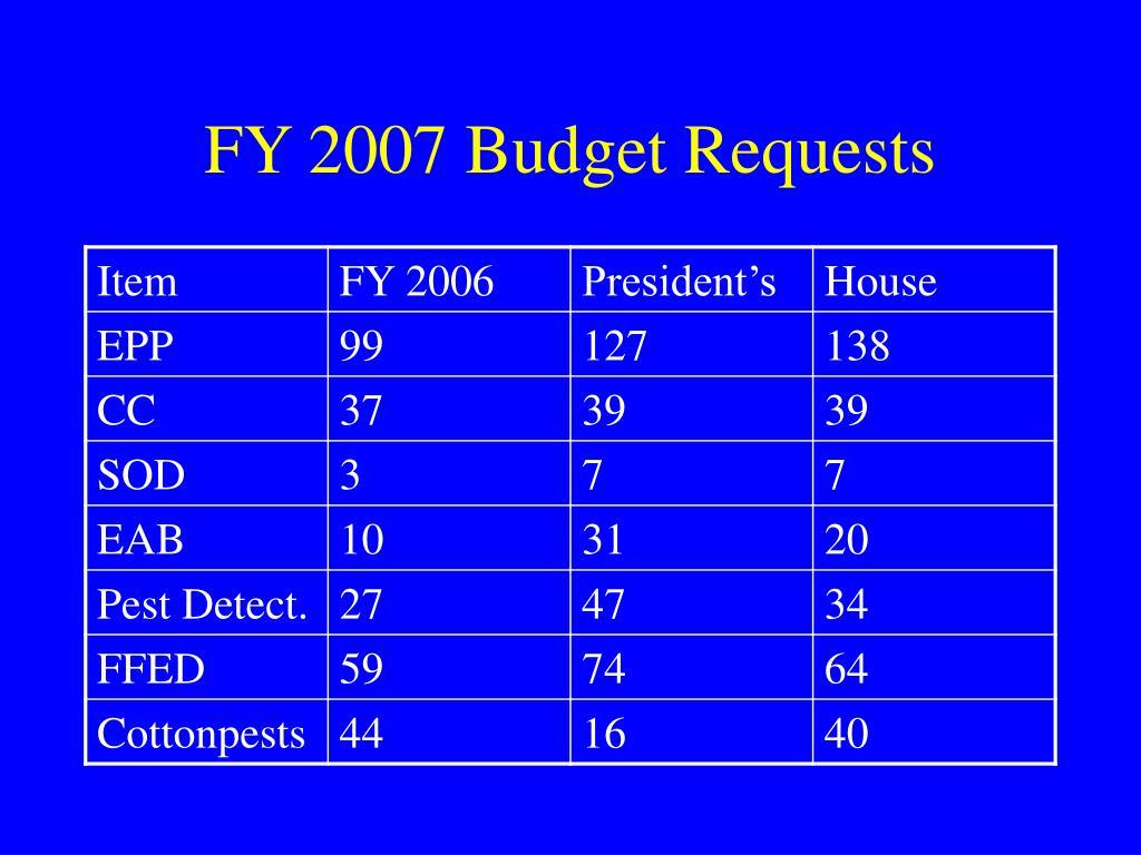 FY 2007 Budget Requests