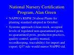 national nursery certification program alan green