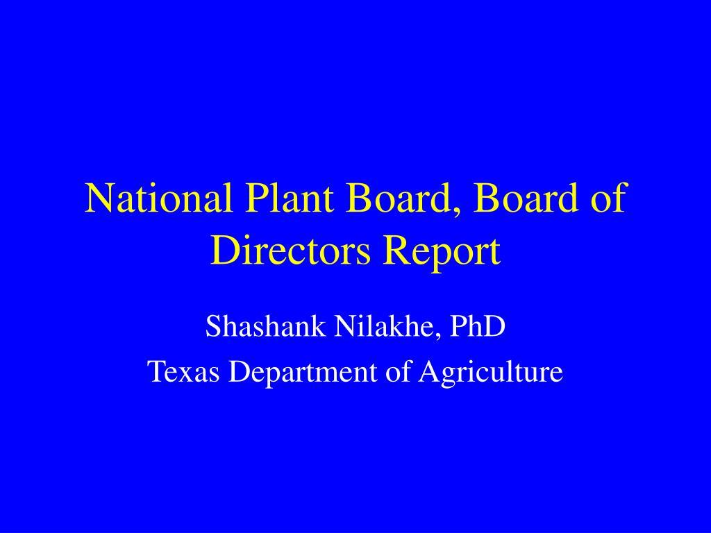 national plant board board of directors report l.