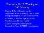 november 16 17 washington d c meeting