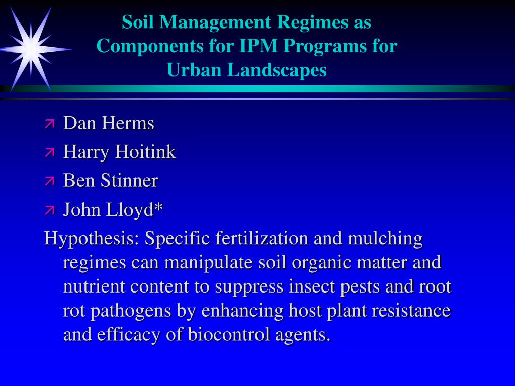 Soil Management Regimes as Components for IPM Programs for Urban Landscapes