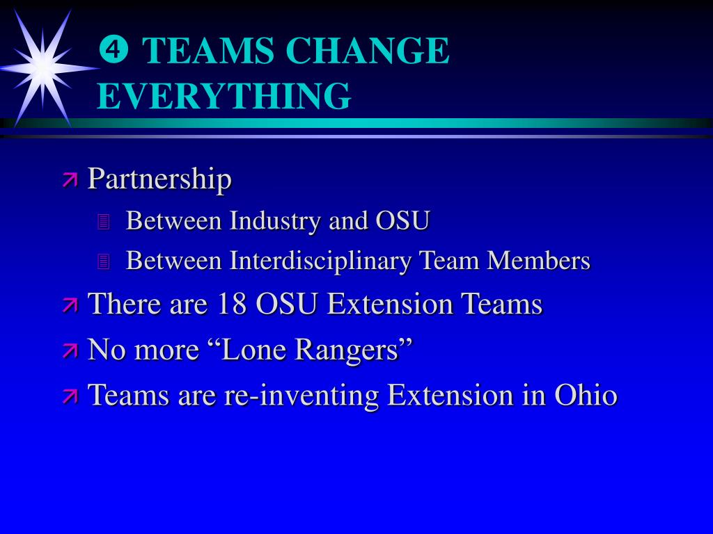 TEAMS CHANGE EVERYTHING