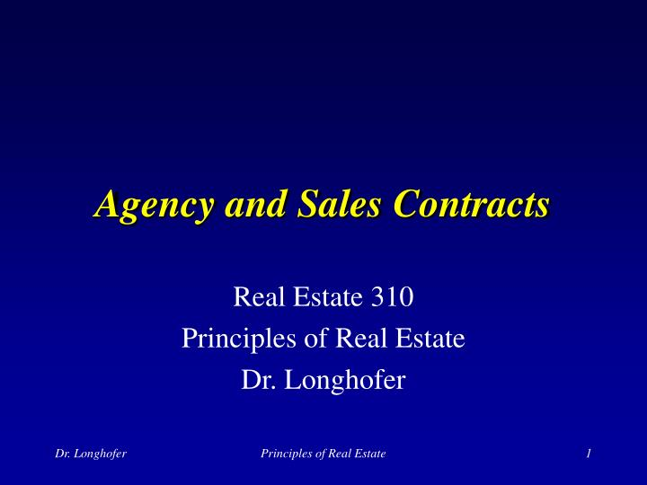 agency and sales contracts n.