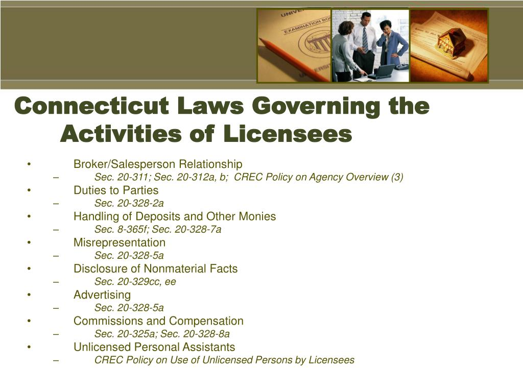 Connecticut Laws Governing the Activities of Licensees