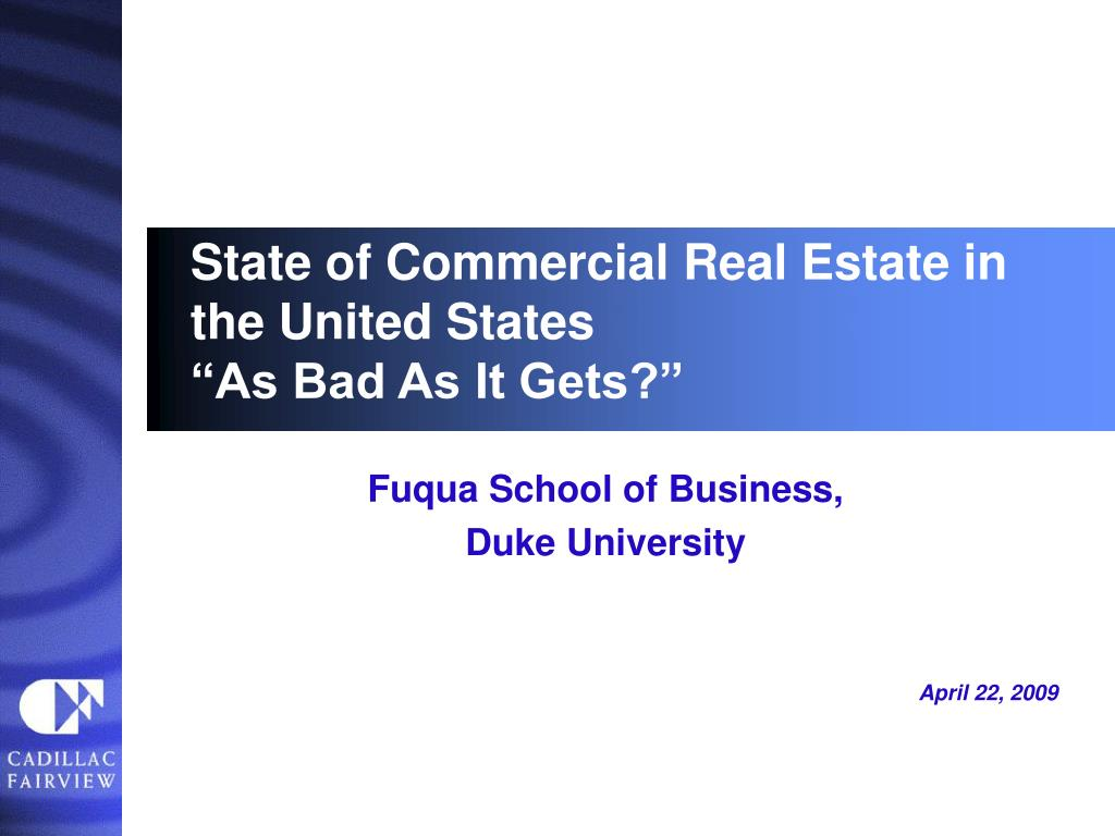 state of commercial real estate in the united states as bad as it gets l.