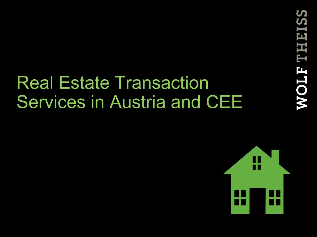 Real Estate Transaction Services in Austria and CEE