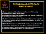 showing and feedback department