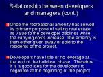 relationship between developers and managers cont12
