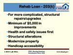 rehab loan 203 k